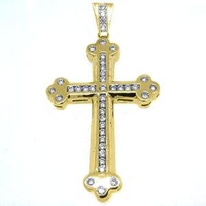 14k Yellow Gold Round Diamond Cross Pendant 3.63 Carats