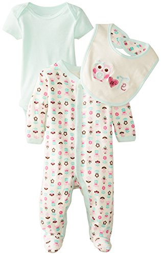 Vitamins Baby Baby-Girls Newborn Cute Owl 3 Piece Footed Coverall Set, Green, 9 Months