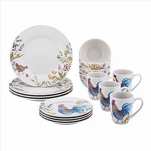Paula Deen 59965 Dinnerware Garden Rooster 16-Piece Stoneware Dinnerware Set, Print