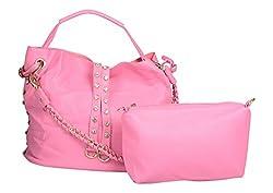 Moda King Women's Handbag (Pink, Combo of 2)