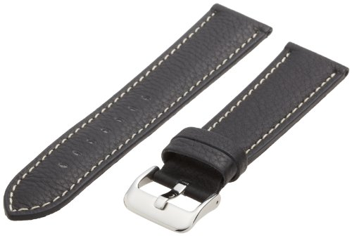 Hadley-Roma Men's MSM906RA-220 22-mm Black Genuine Leather Watch Strap