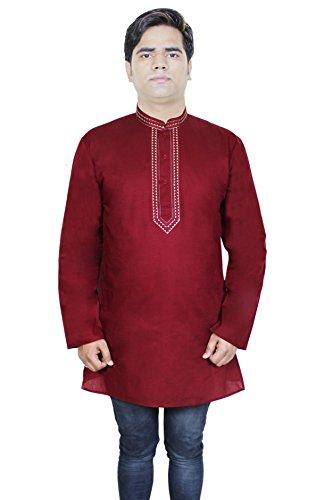 Mens Fashion Cotton Long Kurta Button Up Long Sleeve T-Shirts Tees -Size M