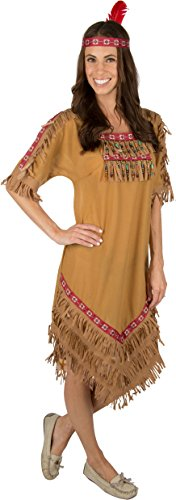 Adult Native American Indian Woman Costume with Headband (Large Adult)