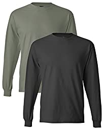 Hanes Men\'s 2 Pack Long Sleeve Beefy-T Shirt, X-Large, 1 St. Green / 1 Sm Grey