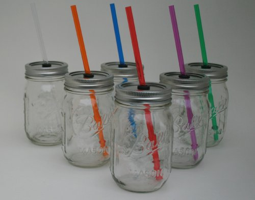 Mason Jar Lid with Reusable Red Straw turn your mason jar into a glass