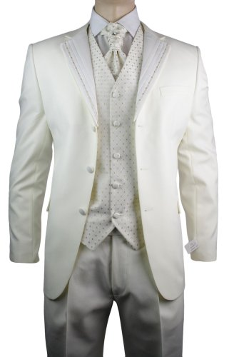 Mens Wedding Party Suit Cream Gold Striped Design Waistcoat, Crovat & Handkerchief