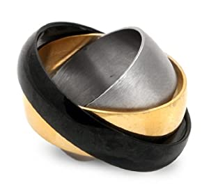 Triple Steel Mens Spinner Ring size 6