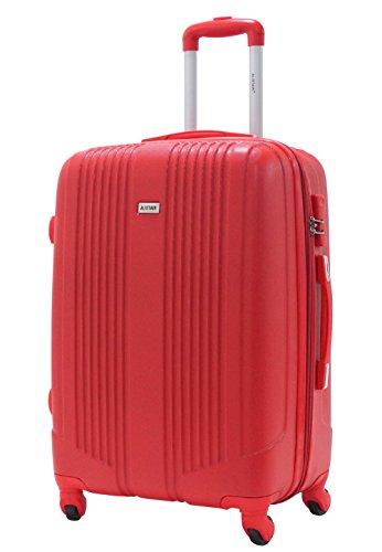Valigia Taglia M 65 centimetri - ALISTAIR Airo - ABS ultra leggero - 4 ruote - Rosso