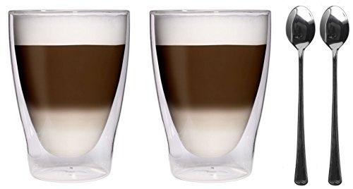 AKTION: 2x 280ml XL doppelwandige Thermogläser + 2x Edelstahl-Löffel 18/10 - Latte Macchiato-Gläser / Cocktailgläser / Eistee-Gläser / Saft- und Wassergläser - 2x 280ml edle Thermogläser mit Schwebeeffekt von Feelino, 2x 280ml