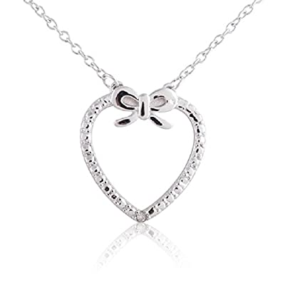Sterling Silver Rhodium Plated Diamond Accent Heart with Bow Pendant Necklace, 18""