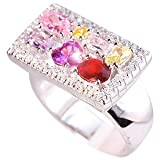 Multicolour Rectangular Cubic Zirconia and Sterling Silver Ring in UK Size Q (Large). Beautifully presented in a red gift box and organza bag.by Kooqi