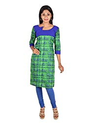 Green and Blue Abstract print Empire cut Cotton Kurta