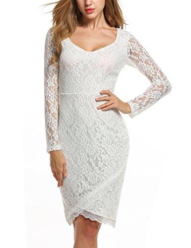 ANGVNS Ladies Long Sleeve Knee Lenth Irregular Hem Elastic Waist Cocktail Dress
