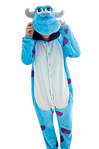 MissFox Unisex Kigurumi Pigiama Adulto Anime Cosplay Halloween Costume Animale Pigiama Costumi di Carnevale Sullivan M