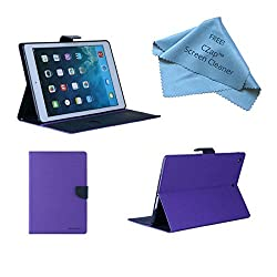 Cubezap Mercury Diary Card Wallet Flip Case Back Cover for Apple iPad 2 3 4 Purple Blue