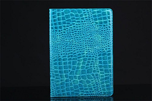 Apple Ipad Air 2 Case Borch Fashion Luxury Crocodile Pattern Leather Multi-function Protective Leather Light-weight Folding Flip Smart Case Cover for for Ipad Air 2 (Blue)