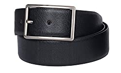 VISACH Men's Leather Lizard Print Double Line Buckle Belt Black and Brown (34)