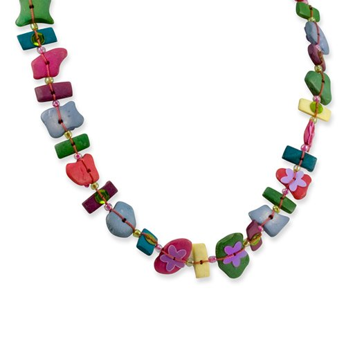 Multicolored Coconut, Acrylic Bead & Sequin 18in Necklace