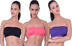 PIFTIF seamless non padded non wire strapless bandeau full side covrage tube bra for women's and girl s fit size ( 28 in to 36 in) GAJRI PURPLE BLACK