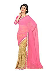 AG Lifestyle Pink & Beige Faux Georgette & Chiffon Pallu Saree With Unstitched Blouse ELG8013