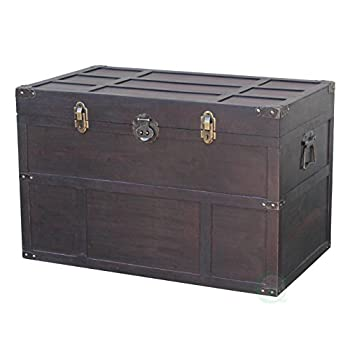 Vintiquewise Antique Style Wooden Steamer Trunk
