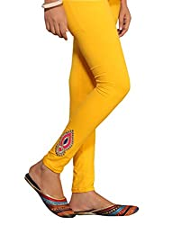 1 stop fashion Yellow Cotton Lycra-4 Way Leggings