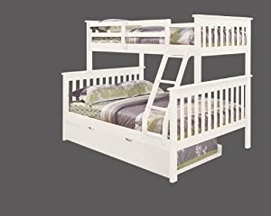 Bunk Bed Twin over Full Mission Style with Trundle in White by DONCO
