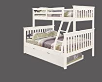 Hot Sale Bunk Bed Twin over Full Mission Style with Trundle in White