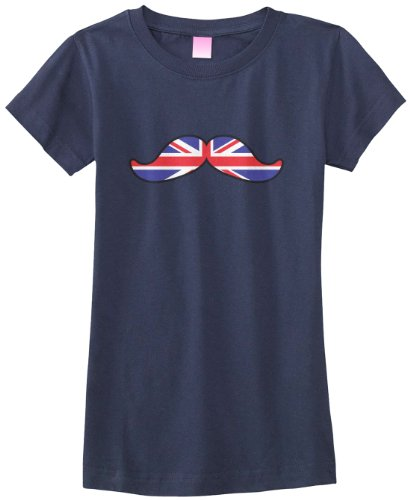 Threadrock Big Girls' British Flag Mustache Fitted T-Shirt L Navy (British Shirt For Girls compare prices)