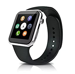 SUPVIN® Smart Watch Bluetooth Smartwatch GSM NFC G-sensor 0.3mp Camera Pedometer Sedentary Reminder SYNC Watch For IOS and Android (Silver)