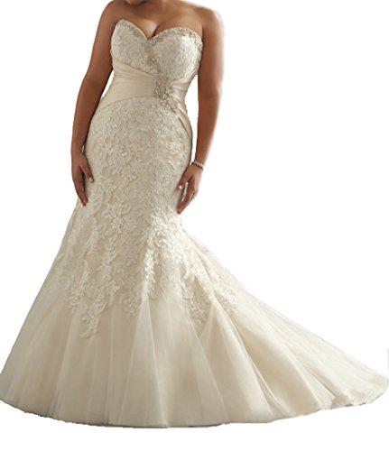 929756e2b15 Cecelia s Veil Women s Graceful Sweetheart Mermaid Plus Size Lace Wedding  Dress