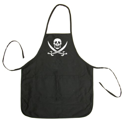 Pirates & Anchors Skull & Crossbones (White) Adult BBQ Cooking & Grilling Apron (Black, One Size)