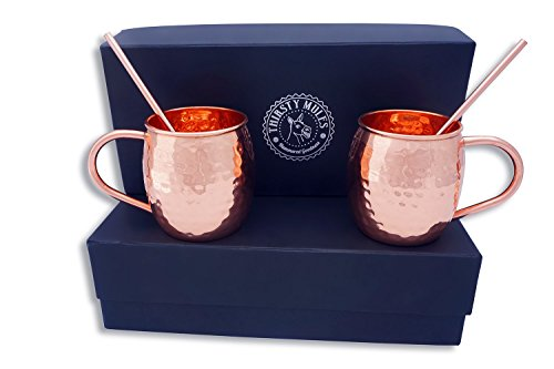 Moscow Mule Copper Mugs, set of 2 with gift box - Large 20 oz Authentic 100% hammered Copper cups. Box Set includes two copper straws