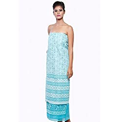 BDS Chikan Women's Cotton Dress Material With Lucknow Chikan Work _BDS00091_ Light Blue_Free Size