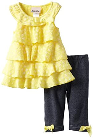 Little Lass Baby-Girls Infant 2 Piece Capri Set with Layers, Yellow, 18 Months
