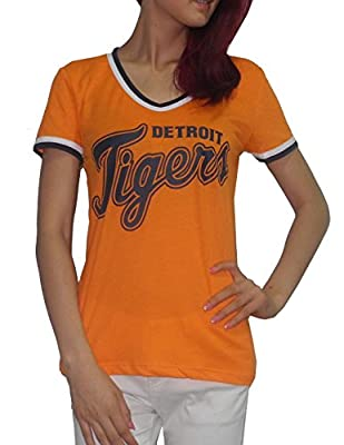 Pink Victoria's Secret MLB Detroit Tigers Womens V-Neck T Shirt / Tee