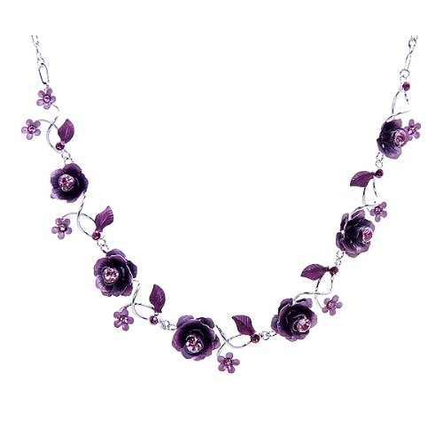 Glamorousky Elegant Rose Necklace with Purple Austrian Element Crystals (1026)