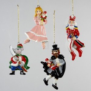 PORCELAIN NUTCRACKER ORNAMENT SET 4PC. - Christmas Ornament