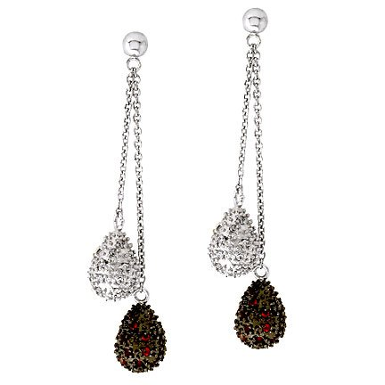 Dangling Ruby C.Z. Diamond Sterling Silver Earrings (Nice Holiday Gift, Special Black Firday Sale)