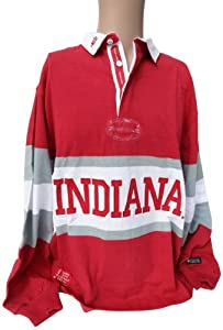 NCAA Indiana Hoosiers Mens Panel Rugby Shirt, Crimson White by Donegal Bay