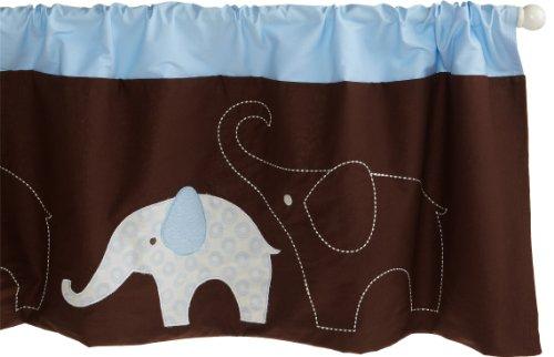 "Carter'S Blue Elephant Valance, Blue/Choc, 60 X 14"" front-935017"