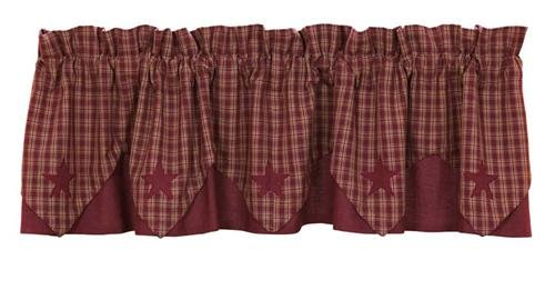 """Victorian Heart """"Burgundy Applique Star"""" Country Point Valance front-808604"""