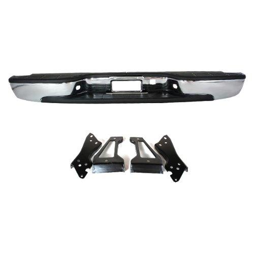 CarPartsDepot 364-15135-20-CH Rear Step Bumper Replacement Steel Bar W/ Pad Chrome GM1103122 (2005 Silverado Rear Bumper compare prices)