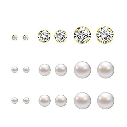 Lureme®9 coppie ordinate dimensioni diverse a 4mm, 6mm, 8mm faux perla e bling bling orecchini di cristallo set - tono oro (02004678)