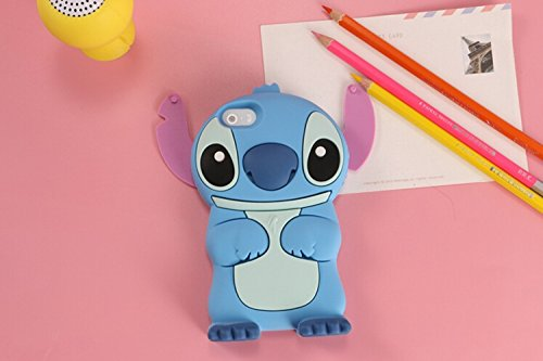 iPhone 5s Case 3d Cartoon Stitch Rotatable Ear Soft Silicone Rubber Case Protective Cover For iPhone 5s (Blue)