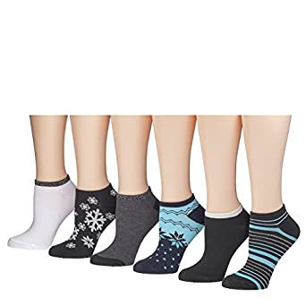 Tipi Toe Women's 6 Or 12 Pack Colorful Patterned No Show Socks (12-pack, FB04-6)