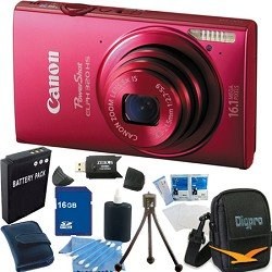 Canon PowerShot ELPH 320 HS 16.1 MP Wi-Fi Enabled CMOS Digital Camera with 5x Zoom 24mm Wide-Angle Lens with 1080p Full HD Video and 3.2-Inch Touch Panel LCD Super Bundle W/ 16 GB (SDHC) Mem. Card, Hi-Speed Reader,DigPro Case, Extra Battery And More RED