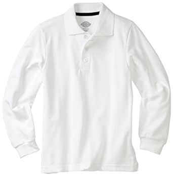 Dickies Big Boys' Uniform Long Sleeve Performance Polo Shirt, White, Small