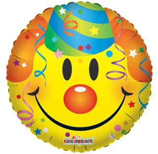 "18"" Foil Balloon, Smiley with Party Hat (1 Ct) - 1"