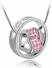 Monika Creations Silver Pink Love-in Crystal Hearts Necklace And Ring Pendant Heart Fashion Necklace